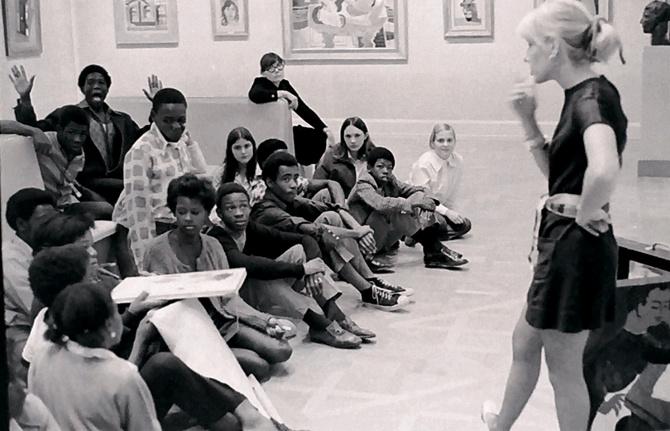 Students visiting the Norton, circa 1970s
